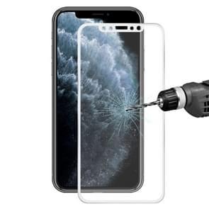 Voor iPhone 11 Pro/iPhone XS/iPhone X Hat-Prince 0.2 mm 9H oppervlakte hardheid 3D titanium legering gebogen rand explosieveilige gehard glas screen protector (zilver)