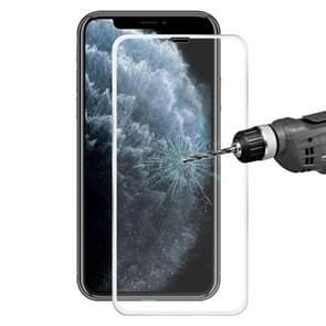 Voor iPhone 11 Pro Max/iPhone XS Max Hat-Prince 0.2 mm 9H oppervlakte hardheid 3D titanium legering gebogen rand explosieveilige gehard glas screen protector (zilver)