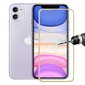 For iPhone 11 Hat-Prince 2 in 1 0.2mm 9H 3D Titanium Alloy Curved Edge Explosion-proof Tempered Glass Screen Protector + 0.2mm 9H 2.15D Round Edge Rear Camera Lens Tempered Glass Film(Gold)