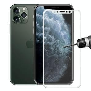 Voor iPhone 11 Pro Hat-Prince 2 in 1 0.2 mm 9H 3D titanium legering gebogen rand explosieveilige gehard glas screen protector + 0.2 mm 9H 2.15 D ronde rand Achteruitrij camera lens gehard glas film (zilver)