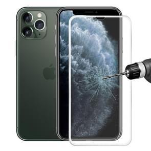 Voor iPhone 11 Pro Max Hat-Prince 2 in 1 0.2 mm 9H 3D titanium legering gebogen rand explosieveilige gehard glas screen protector + 0.2 mm 9H 2.15 D ronde rand achterste camera lens gehard glas film (zilver)
