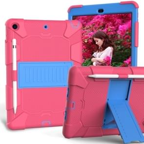 For iPad 10.2  Shockproof Two-Color Silicone Protection Case with Holder & Pen Slot(Hot Pink+Blue)