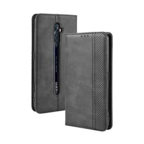 For Oppo Reno2 F/ Reno2 Z Magnetic Buckle Retro Crazy Horse Texture Horizontal Flip Leather Case with Holder & Card Slots & Photo Frame(Black)