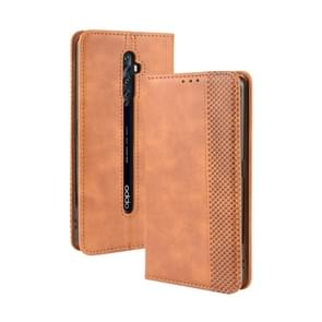 For Oppo Reno2 F/ Reno2 Z Magnetic Buckle Retro Crazy Horse Texture Horizontal Flip Leather Case with Holder & Card Slots & Photo Frame(Brown)