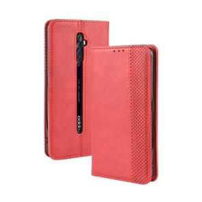 For Oppo Reno2 F/ Reno2 Z Magnetic Buckle Retro Crazy Horse Texture Horizontal Flip Leather Case with Holder & Card Slots & Photo Frame(Red)