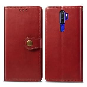 For OPPO A5 2020 / A9 2020 Retro Solid Color Leather Buckle Phone Case with Lanyard & Photo Frame & Card Slot & Wallet & Stand Function(Red)