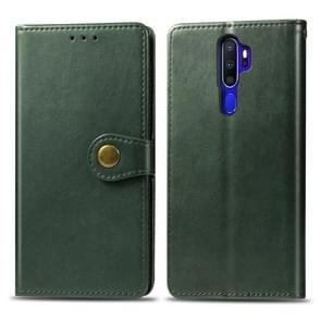 For OPPO A5 2020 / A9 2020 Retro Solid Color Leather Buckle Phone Case with Lanyard & Photo Frame & Card Slot & Wallet & Stand Function(Green)