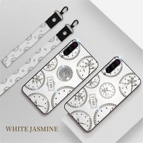 Voor Xiaomi mi 9/9 Pro Fashion klok patroon Rhinestone mobiele telefoon shell met beugel/hand touw/Lanyard (wit)