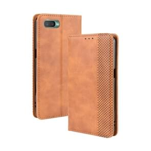 For Oppo Reno A Magnetic Buckle Retro Crazy Horse Texture Horizontal Flip Leather Case with Holder & Card Slots & Photo Frame(Brown)
