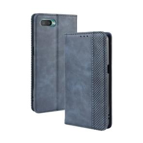 For Oppo Reno A Magnetic Buckle Retro Crazy Horse Texture Horizontal Flip Leather Case with Holder & Card Slots & Photo Frame(Blue)