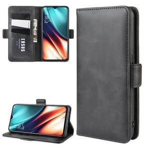 For OPPO K5/OPPO Realme XT/OPPO Realme X2 Double Buckle Crazy Horse Business Mobile Phone Holster with Card Wallet Bracket Function(Black)