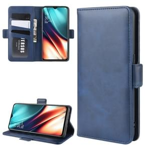 For OPPO K5/OPPO Realme XT/OPPO Realme X2 Double Buckle Crazy Horse Business Mobile Phone Holster with Card Wallet Bracket Function(Blue)