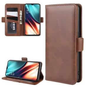 For OPPO K5/OPPO Realme XT/OPPO Realme X2 Double Buckle Crazy Horse Business Mobile Phone Holster with Card Wallet Bracket Function(Brown)