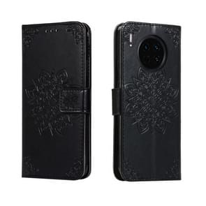 For Huawei Mate 30 Embossed Kaleidoscope Flower Horizontal Flip Leather Case with Holder & Card Slots & Wallet(Black)
