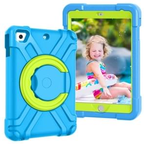 For iPad MINI1/2/3 EVA + PC Flat Protective Shell with 360 ° Rotating Bracket(Blue+Grass Green)
