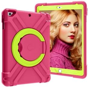 For iPad Air/Air2/Pro9.7 EVA + PC Flat Protective Shell with 360 ° Rotating Bracket(Rose Red+Grass Green)