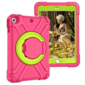 For iPad 10.2  EVA + PC Flat Protective Shell with 360 ° Rotating Bracket(Rose Red+Grass Green)