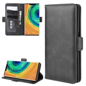 For Huawei Mate 30 Pro Double Buckle Crazy Horse Business Mobile Phone Holster with Card Wallet Bracket Function(Black)