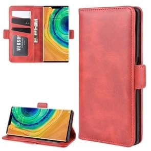 For Huawei Mate 30 Pro Double Buckle Crazy Horse Business Mobile Phone Holster with Card Wallet Bracket Function(Red)