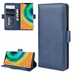 For Huawei Mate 30 Pro Double Buckle Crazy Horse Business Mobile Phone Holster with Card Wallet Bracket Function(Blue)