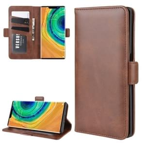 For Huawei Mate 30 Pro Double Buckle Crazy Horse Business Mobile Phone Holster with Card Wallet Bracket Function(Brown)