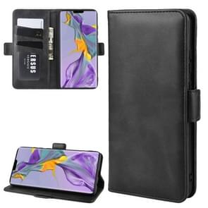 For Huawei Mate 30 Double Buckle Crazy Horse Business Mobile Phone Holster with Card Wallet Bracket Function(Black)