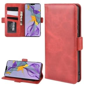 For Huawei Mate 30 Double Buckle Crazy Horse Business Mobile Phone Holster with Card Wallet Bracket Function(Red)