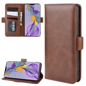 Voor Huawei mate 30 dubbele Buckle Crazy Horse zakelijke mobiele telefoon holster met kaart portemonnee beugel functie (bruin)