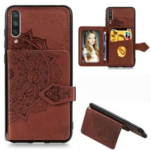 For Xiaomi Mi 9 Mandala Embossed Magnetic Cloth PU + TPU + PC Case with Holder & Card Slots & Wallet & Photo Frame & Strap(Brown)