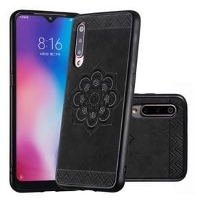 Voor Xiaomi mi 9  de Rose Mandala patroon PC + TPU + PU telefoon geval (zwart)