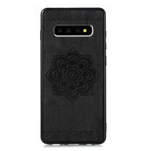 Voor Galaxy S10 plus Rose Mandala patroon PC + TPU + PU telefoon geval (zwart)