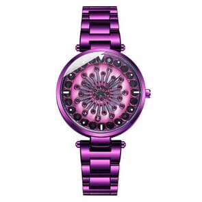 SANDA 1017 Lady Watch All Over The Sky Star 360 Degree Rotating Watch Diamond Steel Band Women Watch(Purple)
