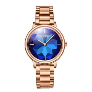 SANDA 1019 Women Watch Diamond Shaped Lotus Chassis Fashion Personality Women  Watch Steel Band Quartz Watch(Blue)