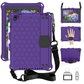 For iPad Air/Air2/Pro9.7 Honeycomb Design EVA + PC Four Corner Anti Falling Flat Protective Shell With Straps(Purple+Black)