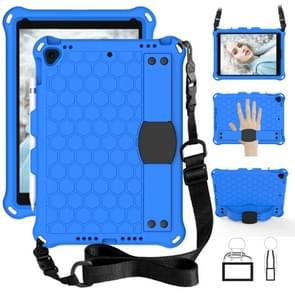 For iPad 10.2 Honeycomb Design EVA + PC Four Corner Anti Falling Flat Protective Shell With Straps(Blue+Black)