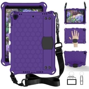 For    iPad Pro 10.5 Honeycomb Design EVA + PC Four Corner Anti Falling Flat Protective Shell With Straps(Purple+Black)