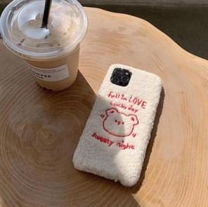 Voor iPhone 11 pluche geborduurd liefde dragen mobiele telefoon beschermende case