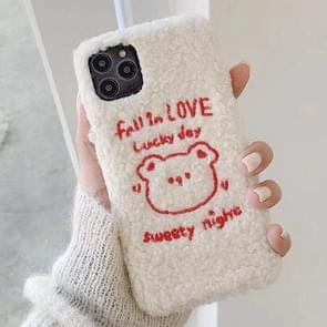 For iPhone 11 Pro Max Plush Embroidered Love Bear Mobile Phone Protective Case