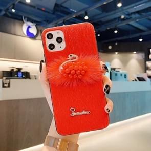 Voor iPhone 11 Pro Max Swan Mink mobiele telefoon geval (rood)