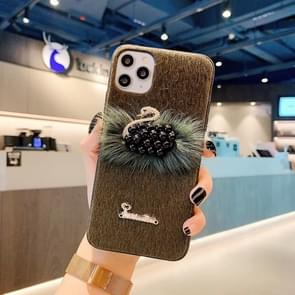 For iPhone 11 Pro Max Swan Mink Cell Phone Case(Brown)