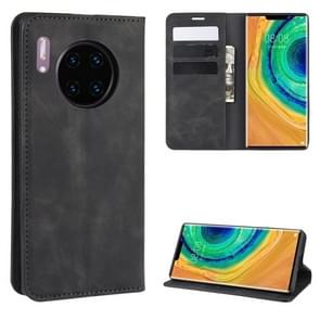 For Huawei Mate 30 Pro Retro-skin Business Magnetic Suction Leather Case with Holder & Card Slots & Wallet(Black)