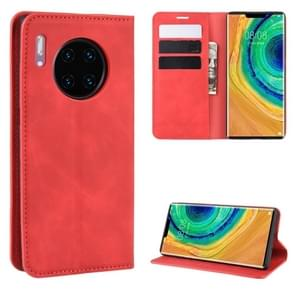For Huawei Mate 30 Pro Retro-skin Business Magnetic Suction Leather Case with Holder & Card Slots & Wallet(Red)