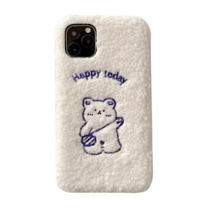 For iPhone 11 Blue Happy Bear Autumn Winter Embroidered Plush Mobile Phone Protective Case
