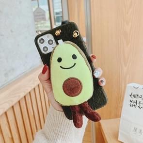 Voor iPhone 11 pluche avocado cross lichaam telefoon geval (cyaan)