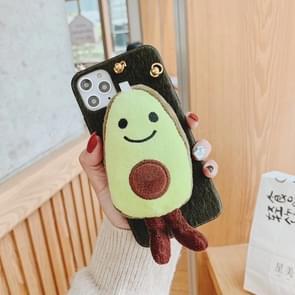 Voor iPhone 11 Pro Max pluche avocado cross lichaam telefoon geval (cyaan)