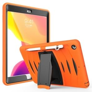 For iPad 10.2 2019     360 Degree Rotation PC + Silicone Protective Case with Holder & Hand-strap(Orange)
