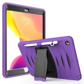 Voor iPad 10.5 2019 360 Graden Rotatie PC + Siliconen beschermhoes met houder & handriem(Paars)