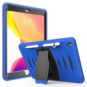 Voor iPad 10.5 2019 360 Graden Rotatie PC + Siliconen beschermhoes met houder & handriem(Donkerblauw)
