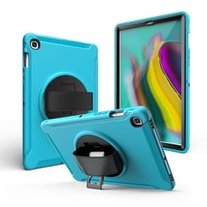 For iPad 9.7 2017/2018  360 Degree Rotation PC + Silicone Protective Case with Holder & Hand-strap(Light Blue)