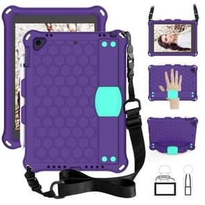 For iPad 9.7 2017/2018 Honeycomb Design EVA + PC Four Corner Anti Falling Flat Protective Shell With Straps(Purple + Mint)